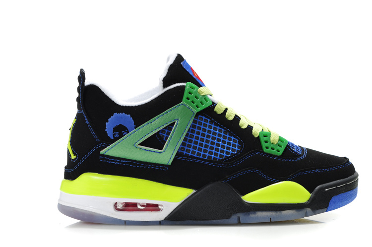 2012 Air Jordan Shoes 4 Black Green Blue