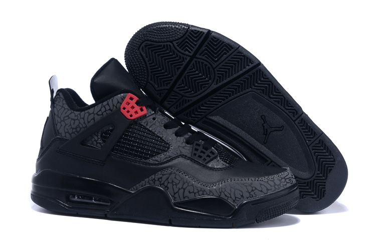 Real Jordan 4 Follow Print Black Red Shoes