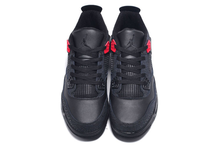 Cheap Real 2015 Jordan Jordan 4 Crack Print All Black Lovers