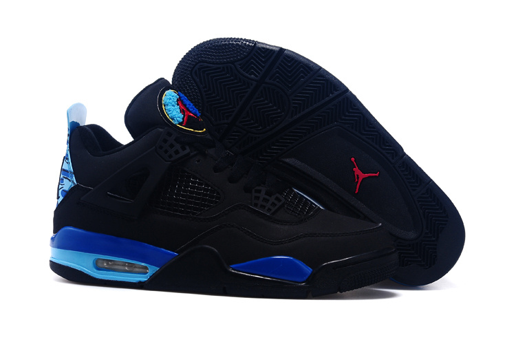Real Black Blue Red Jordan 4 And 8 Shoes