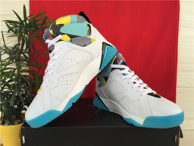 Real Jordan 7 White Baby Blue Yellow Shoes