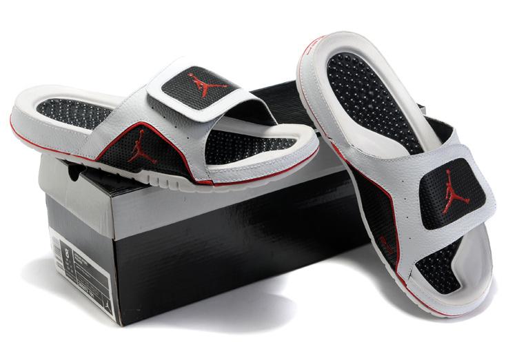 2015 Latest Air Jordan Hydro 5 White Black Red Sandal