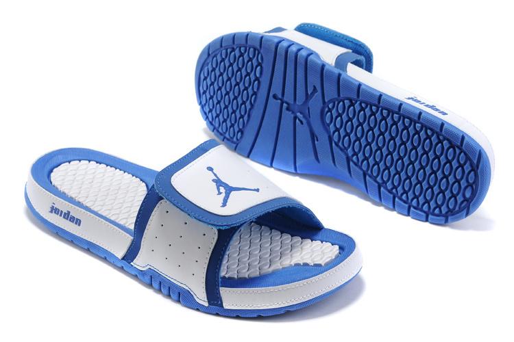 2015 Latest Air Jordan Hydro 5 White Blue Sandal
