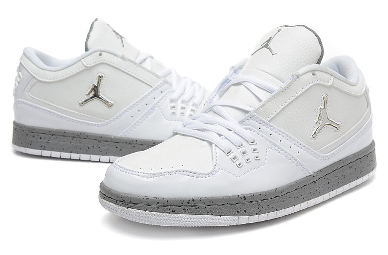 Real Jordan 1 Low White Grey Shoes