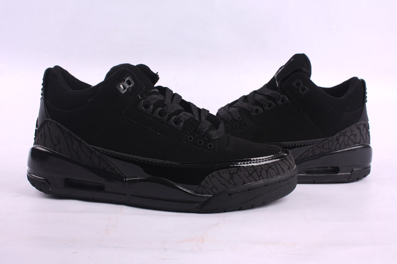 Real Jordan 3 Retro All Black Lover Shoes