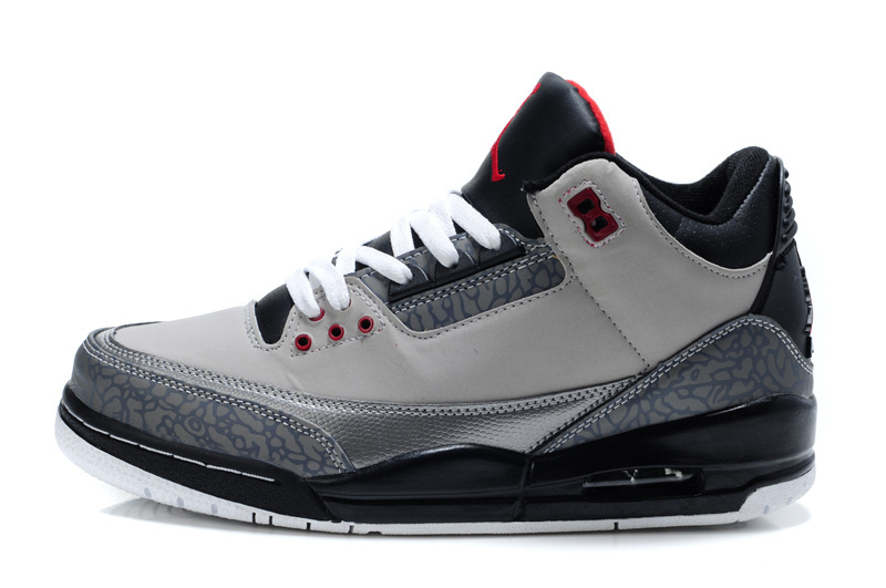 Real Jordan 3 Retro Grey Black Red Lover Shoes