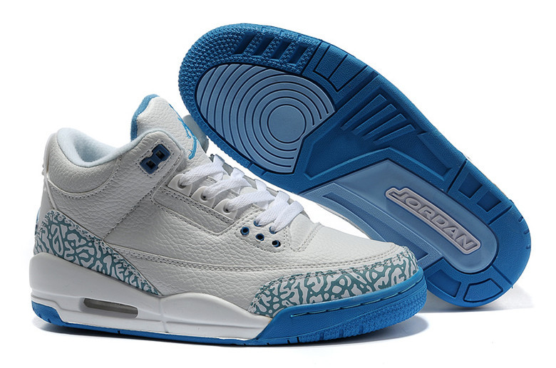 Real Jordan 3 Retro Grey Blue Lover Shoes