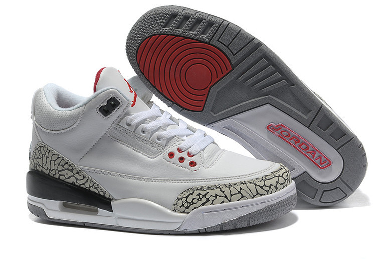 Real Jordan 3 Retro White Cement Grey Red Lover Shoes