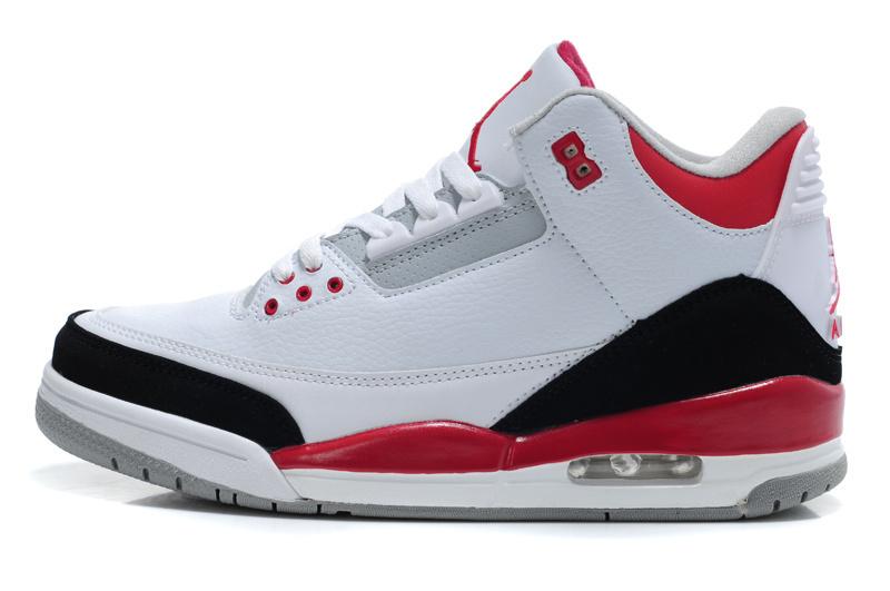 Real Jordan 3 Retro White Red Black Lover Shoes