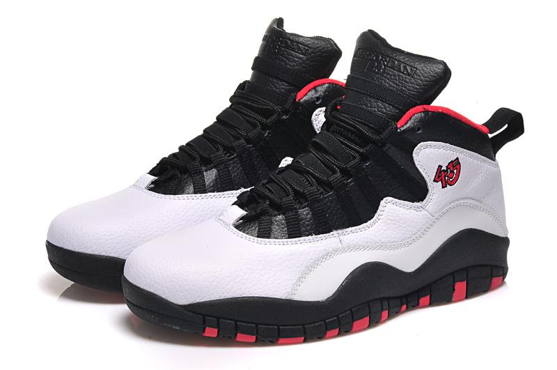 Real Jordan 10 Retro White Black Red Shoes