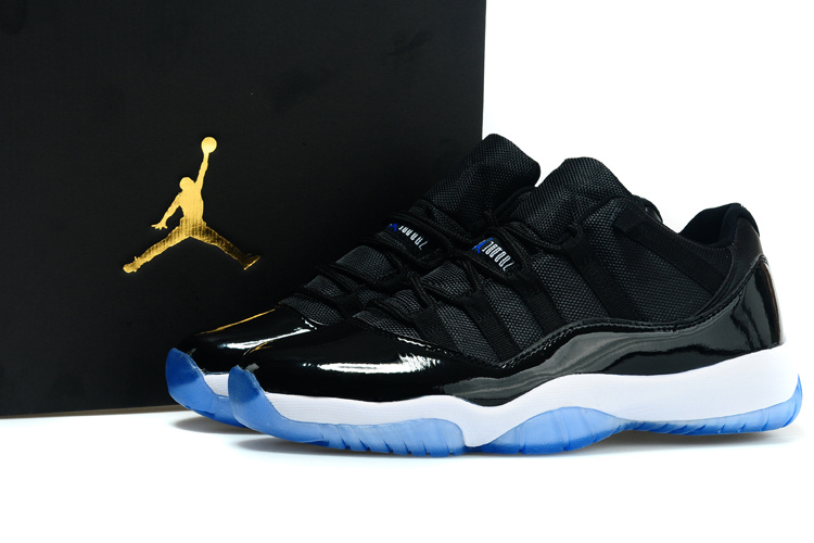Real Jordan 11 Low Black White Blue Shoes