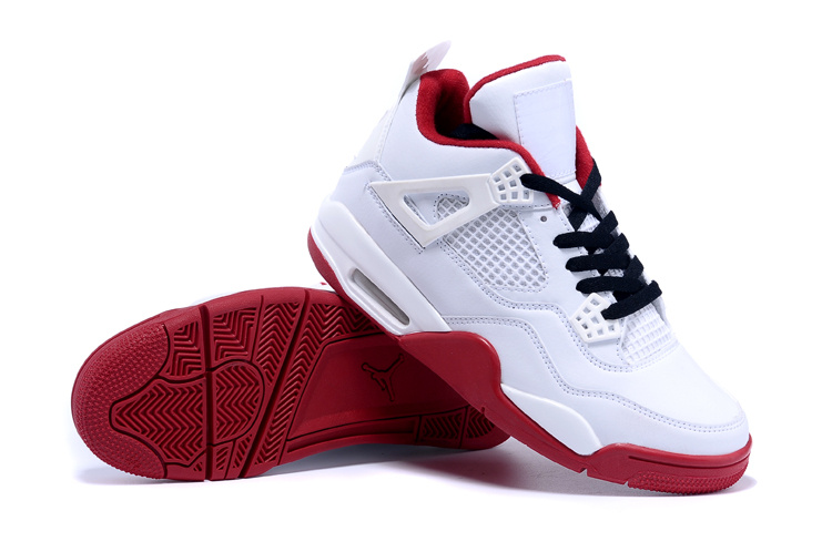 Real Jordan 4 White Red Black Shoes