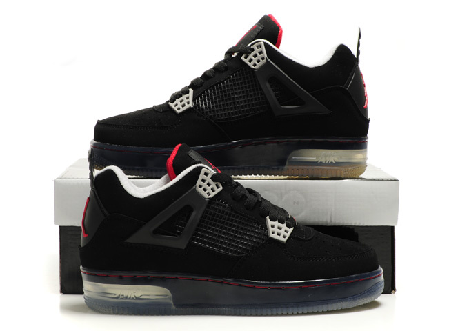 Cheap Air Force Jordan 4 Shine Sole All Black Shoes