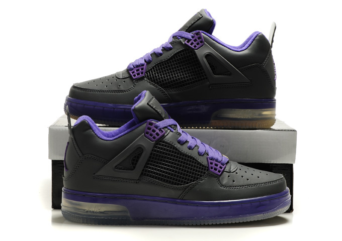 Cheap Air Force Jordan 4 Shine Sole Black Purple Shoes