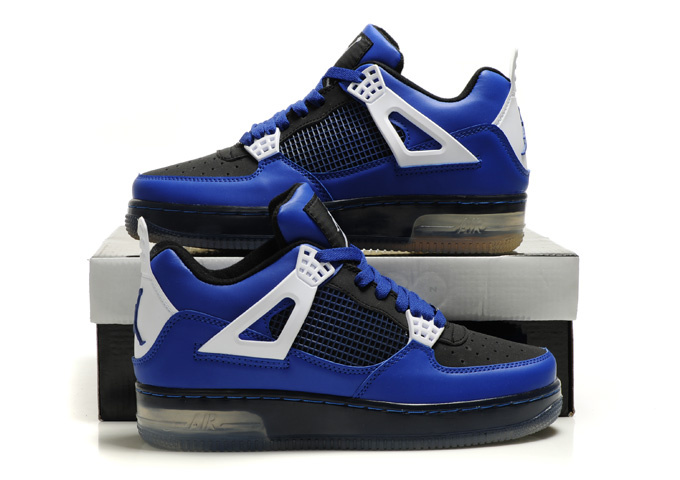 Cheap Air Force Jordan 4 Shine Sole Blue Black White Shoes