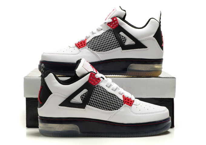 Cheap Air Force Jordan 4 Shine Sole White Black Red Shoes