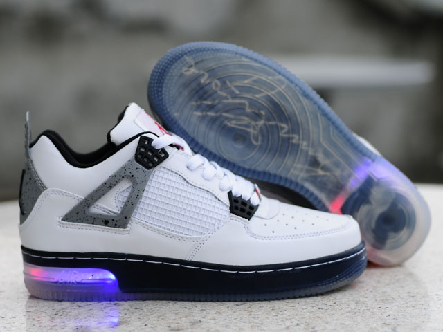 Cheap Air Force Jordan 4 Shine Sole White Black Shoes
