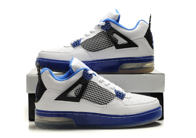 Cheap Air Force Jordan 4 Shine Sole White Blue Black Shoes