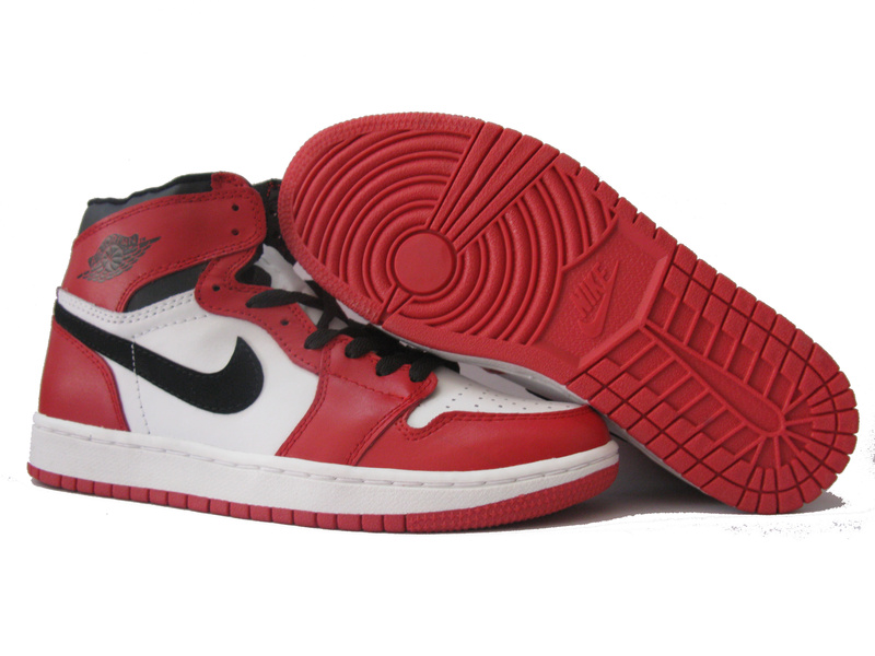 Cheap Air Jordan 1 Shoes Red White Black
