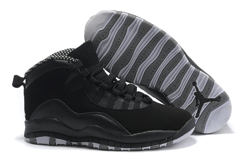 Cheap Air Jordan Shoes 10 Black Grey