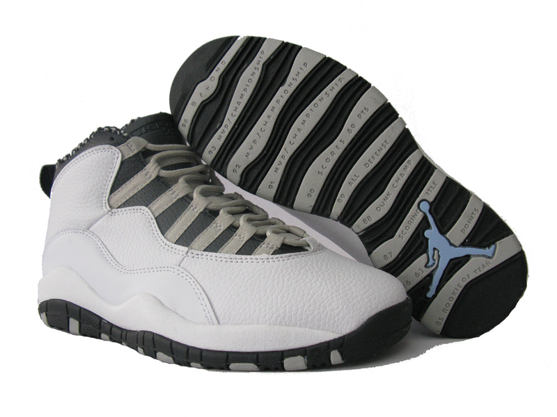 Cheap Air Jordan Shoes 10 White Grey Black