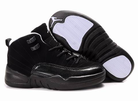 Cheap Air Jordan Shoes 12 Black For Kids