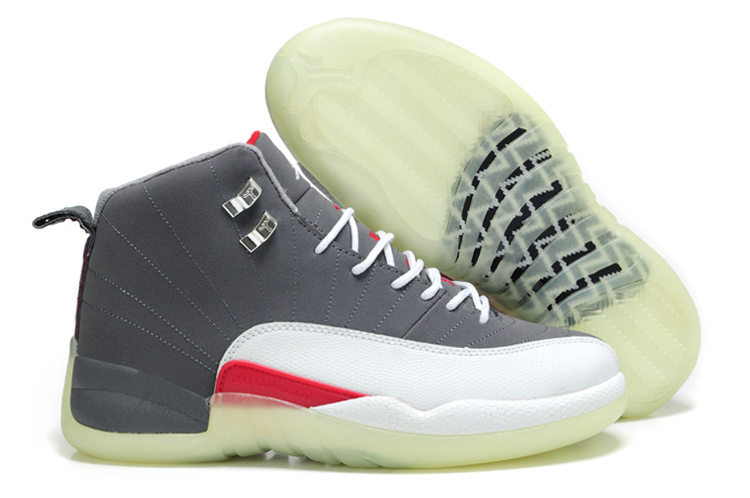 Cheap Air Jordan Shoes 12 Shoes Shine Sole Grey White Red