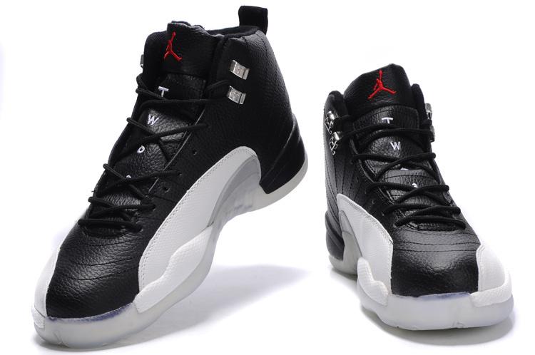 Cheap Air Jordan Shoes 12 Transparent Sole Black White