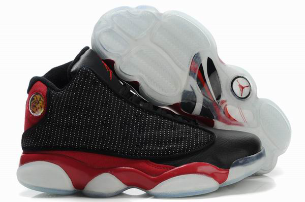 Cheap Air Jordan Shoes 13 Shoes Net Vamp Transparent Sole Black Red White