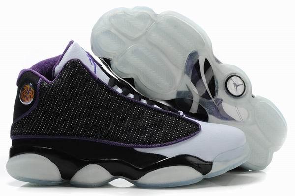 Cheap Air Jordan Shoes 13 Shoes Net Vamp Transparent Sole Black White Purple