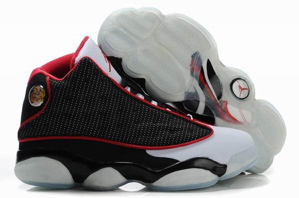 Cheap Air Jordan Shoes 13 Shoes Net Vamp Transparent Sole Black White Red