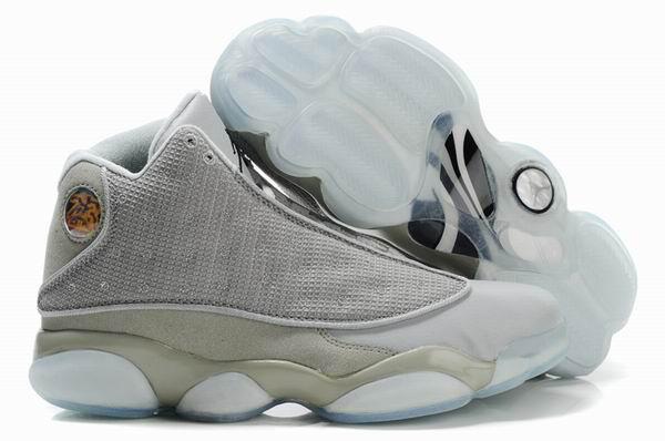Cheap Air Jordan Shoes 13 Shoes Net Vamp Transparent Sole White Grey