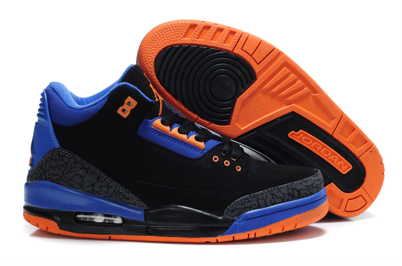 Cheap Air Jordan Shoes 3 Black Blue Orange