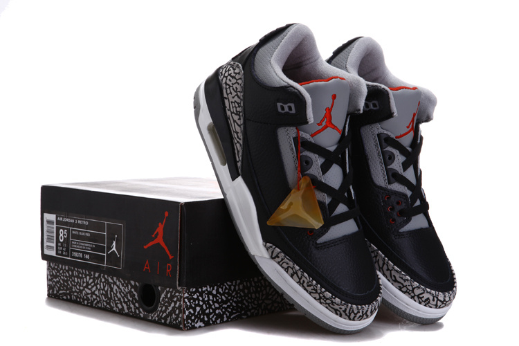 Cheap Real Air Jordan 3 Chalcedoney Edition Black Grey Cement