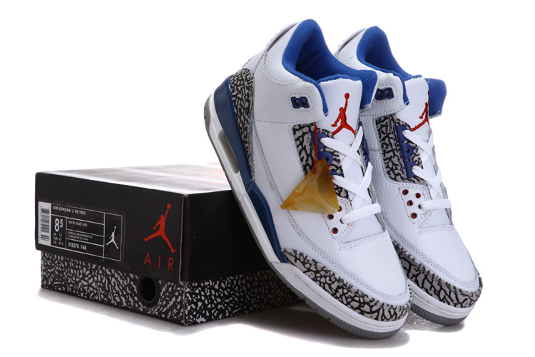 Real Air Jordan 3 Chalcedoney Edition White Blue Grey For Sale