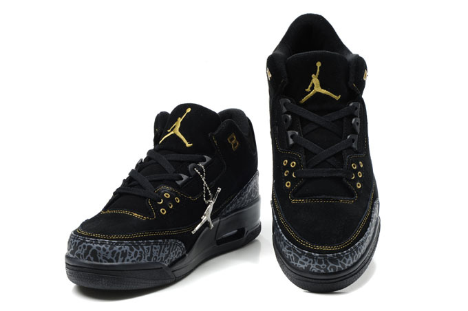 Cheap Air Jordan Shoes 3 Leather All Black
