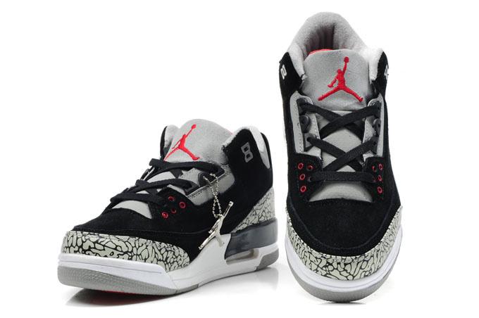 Cheap Air Jordan Shoes 3 Leather Black White Grey