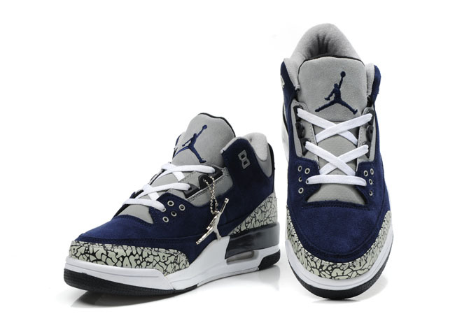 Cheap Air Jordan Shoes 3 Leather Blue White Grey