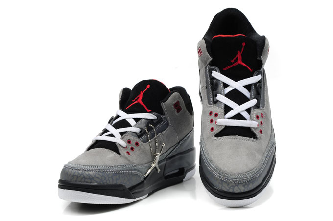 Cheap Air Jordan Shoes 3 Leather Grey White