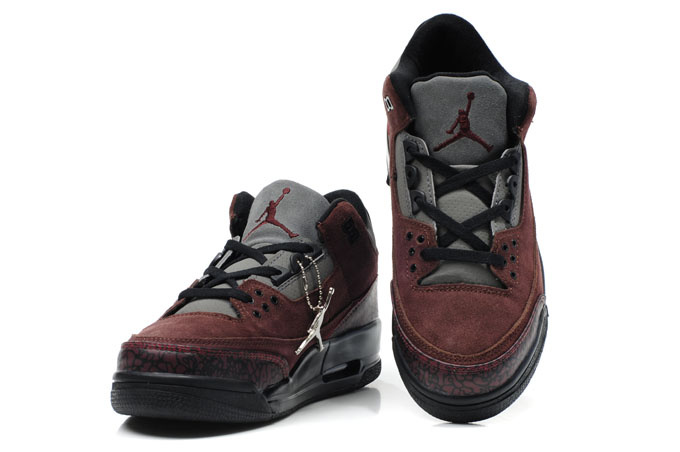 Cheap Air Jordan Shoes 3 Leather Wine Red Black
