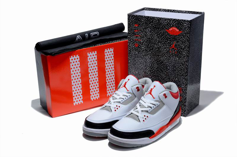 Cheap Air Jordan Shoes 3 Limited Edition White Black Red