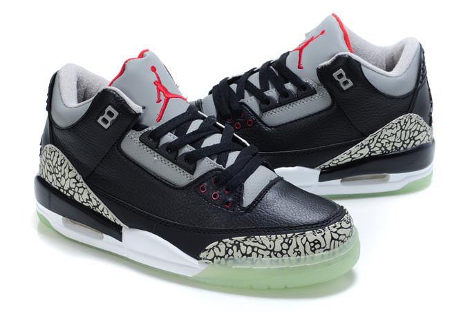 Cheap Air Jordan Shoes 3 Midnight Black Grey Red