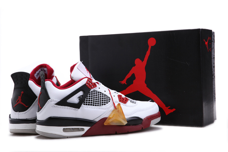 Air Jordan 4 Chalcedoney Edition White Black Red On Discount Sale