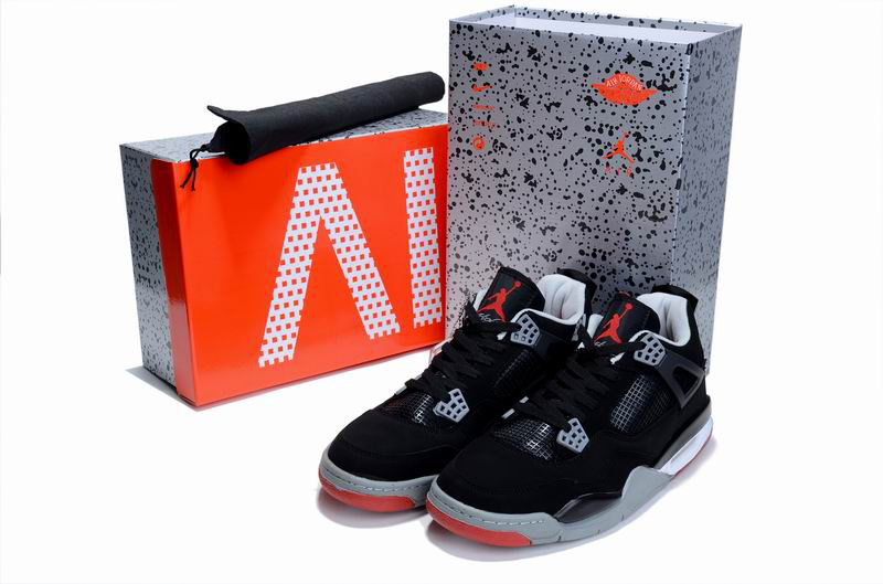 Cheap Air Jordan Shoes 4 Limited Edition Black Grey Red