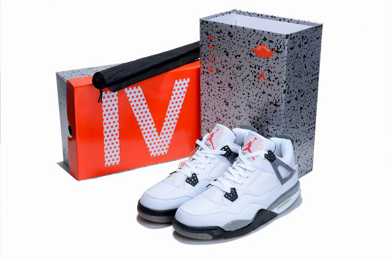 Cheap Air Jordan Shoes 4 Limited Edition White Grey Cement