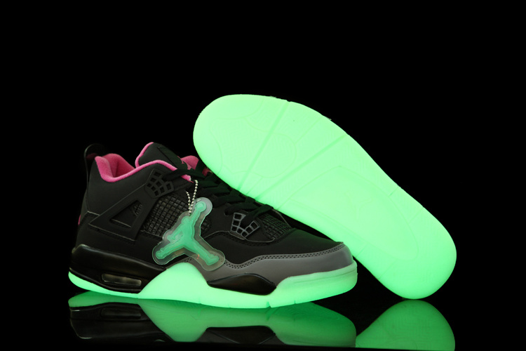 Air Jordan 4 Midnight Shoes Black Pink