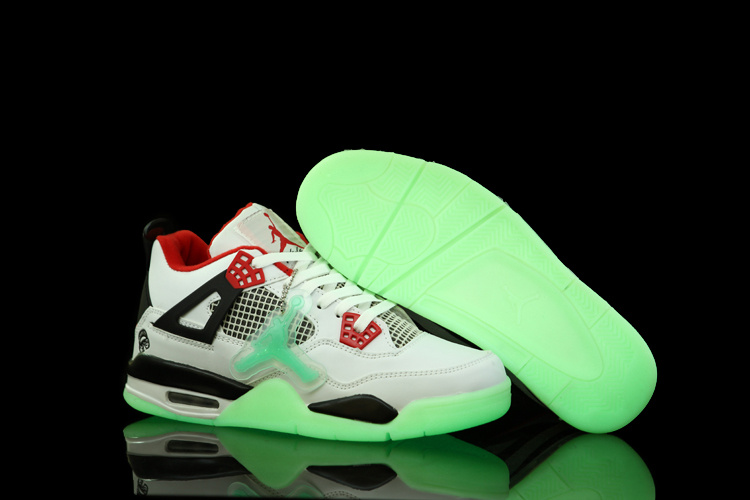 Air Jordan 4 Midnight Shoes White Black Red