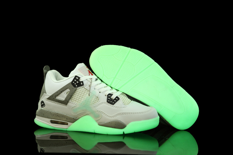 Air Jordan 4 Midnight Shoes White Grey