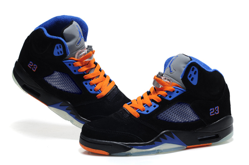 Authentic Air Jordan 5 Suede Black Blue Orange For Women