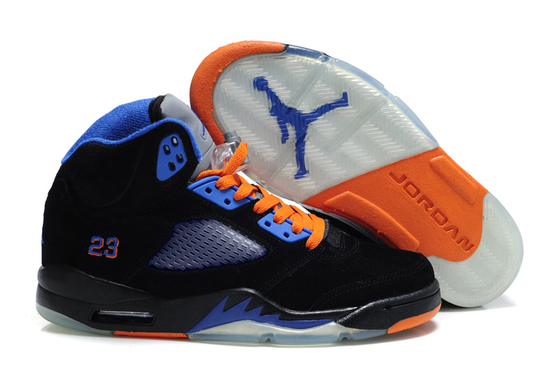 Cheap Air Jordan Shoes 5 Suede Black Blue Orange Shoes